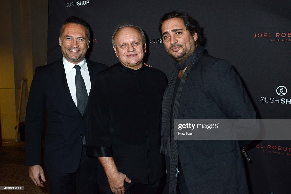 Herve Louis from Sushi Shop, Joel Robuchon and Gregory Marciano from Sushi Shop attend the Sushi Shop Launches New Menu By Joel Robuchon - Photo Call At Le Mini Palais on November 19, 2013 in Paris, France.