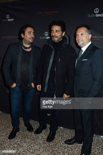 Herve Louis from Sushi Shop Pascal Elbe and Gregory Marciano from Sushi Shop attend the Sushi Shop Launches New Menu By Joel RobuchonPhoto Call At Le...