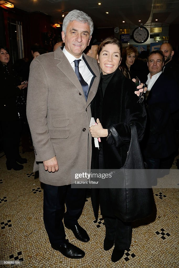 Herve Morin and Elodie Garamond attend 'Big Bang' Premiere Theater Play at Theatre du Gymnase on February 8, 2016 in Paris, France.