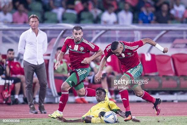 Herve Renard of Morocco Oussama Tannane of Morocco Charles P Mendes Monteiro of Sao Tome e Principe Youssef En Nesyri of Morocco during the Africa...