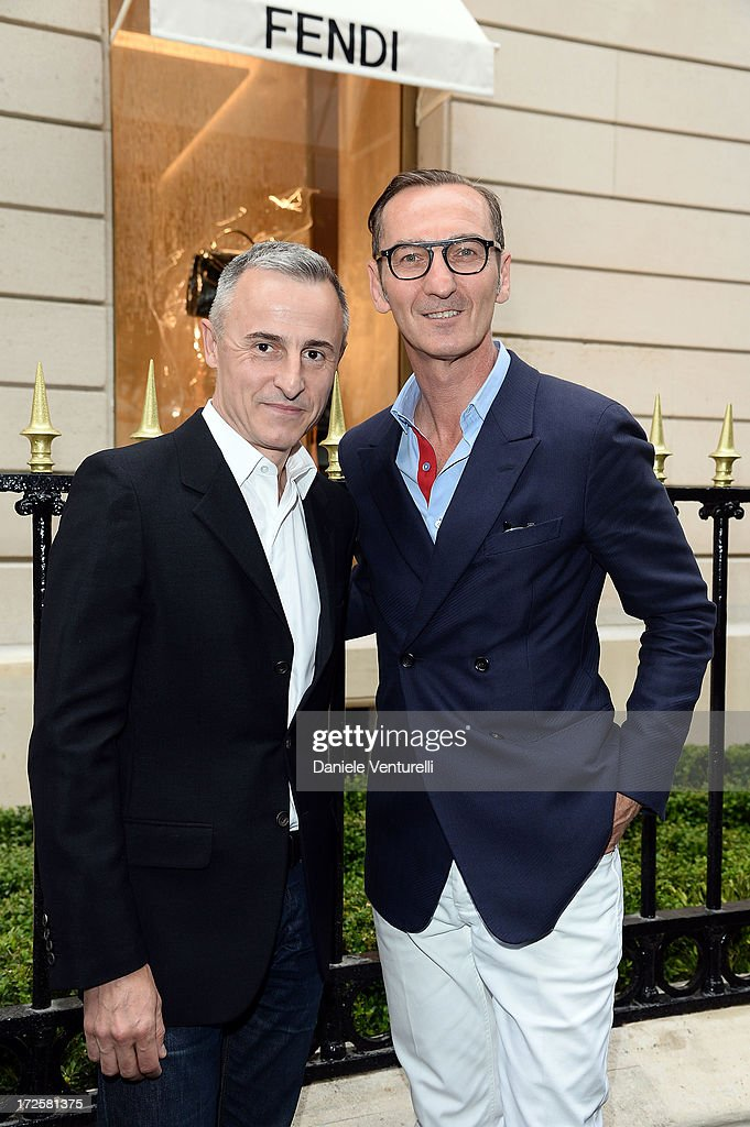 Herve Van Der Straeten and Bruno Frisoni attend the opening of Fendi's new boutique at 51 Avenue Montaine on July 3, 2013 in Paris, France.