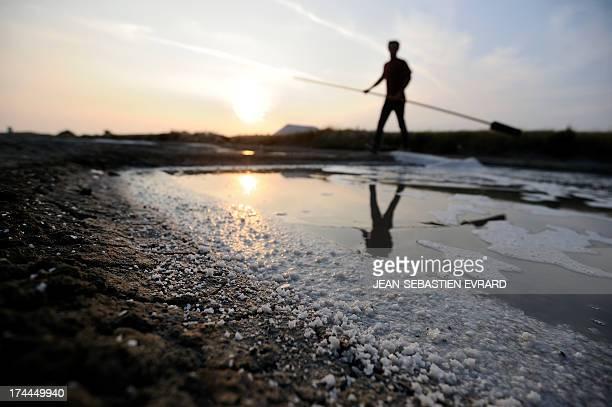 Herve Zarka a salt worker harvests salt on July 18 2013 in L'Epine on the island of Noirmoutier western France About 100 salt workers harvest 2500...