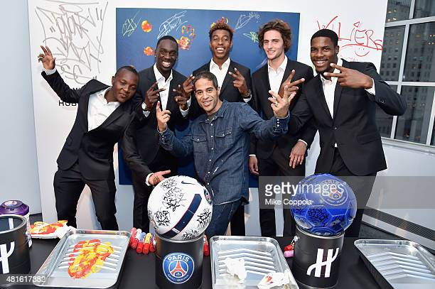 Hervin Ongenda JeanKevin Augustin Presnel Kimpembe JonOne Adrien Rabiot and Mike Maignan attend the launch of Hublot's latest timepiece with Paris...