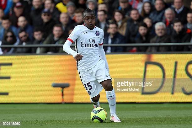 Hervin Ongenda of Paris SaintGermain during the French League 1 match between EA Guingamp and Paris SaintGermain on April 9 2016 in Guingamp France