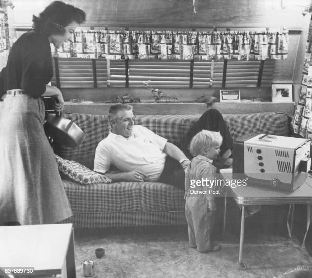 Herzog Whitey Whitey Herzog former Denver Bear outfielder now in the Washington Senators and Debbie his 21monthold daughter watch television in their...