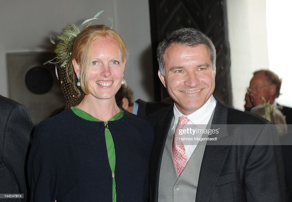 Herzogin Elisabeth in Bayern and her husband Daniel Terberger attend the wedding of Princess Felipa von Bayern and Christian Dienst at Wieskirche on May 12, 2012 in Steingaden, Germany.