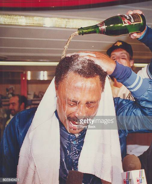 He's all wet The bubbly and beer was flying in the clubhouse as manager Cito Gaston gets a thorough drenching