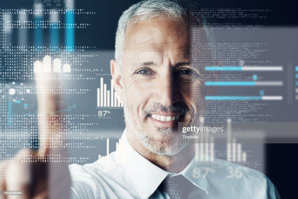 He's got innovation at his fingertips : Stock Photo