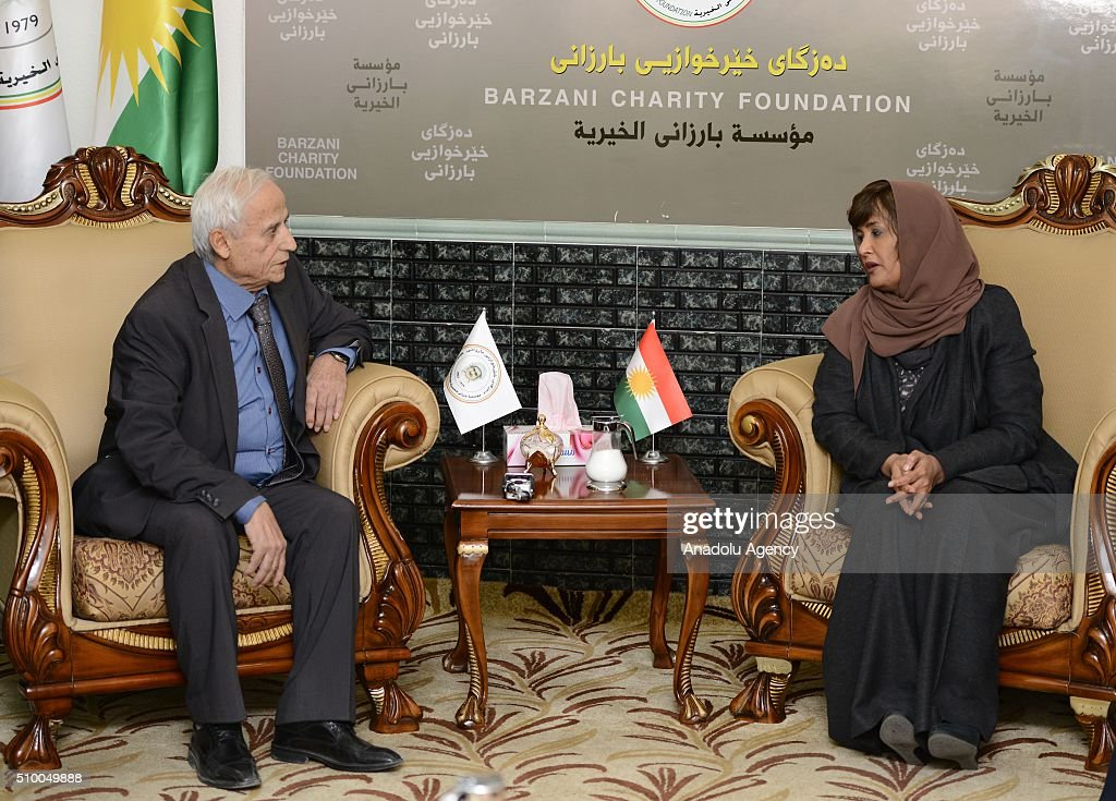 Hessa Al Thani (right), Arab Leagues Special Envoy for Humanitarian Affairs, and Barzani Charity Foundation's deputy executive Musa Ahmad (L) are seen their meeting in Erbil, Iraq on February 13, 2016.