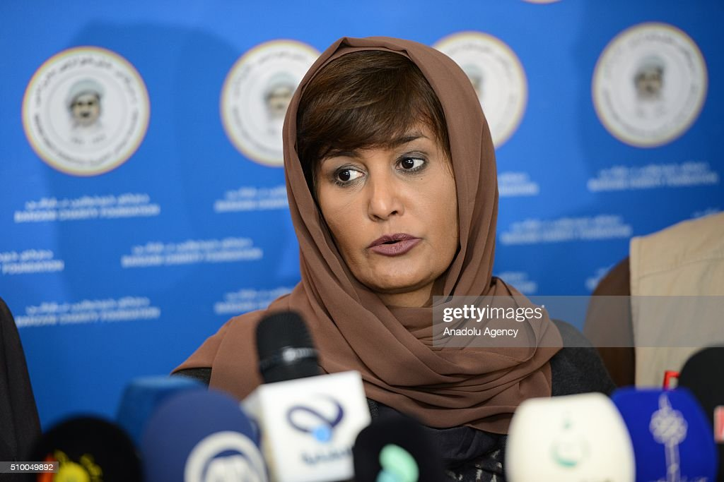 Hessa Al Thani, Arab Leagues Special Envoy for Humanitarian Affairs, speaks during a media conference after a meeting with Barzani Charity Foundation's deputy executive Musa Ahmad in Erbil, Iraq on February 13, 2016.