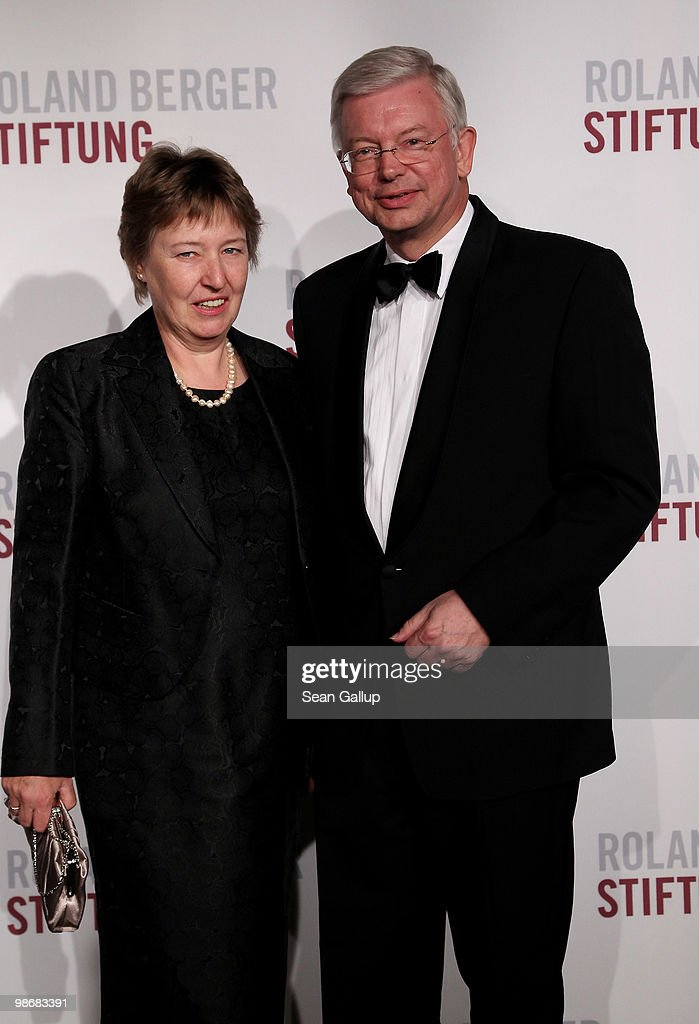 Hesse governor Roland Koch and his wife Anke attend the Roland Berger Award for Human Dignity 2010 at the Konzerthaus am Gendarmenmarkt on April 26, 2010 in Berlin, Germany.
