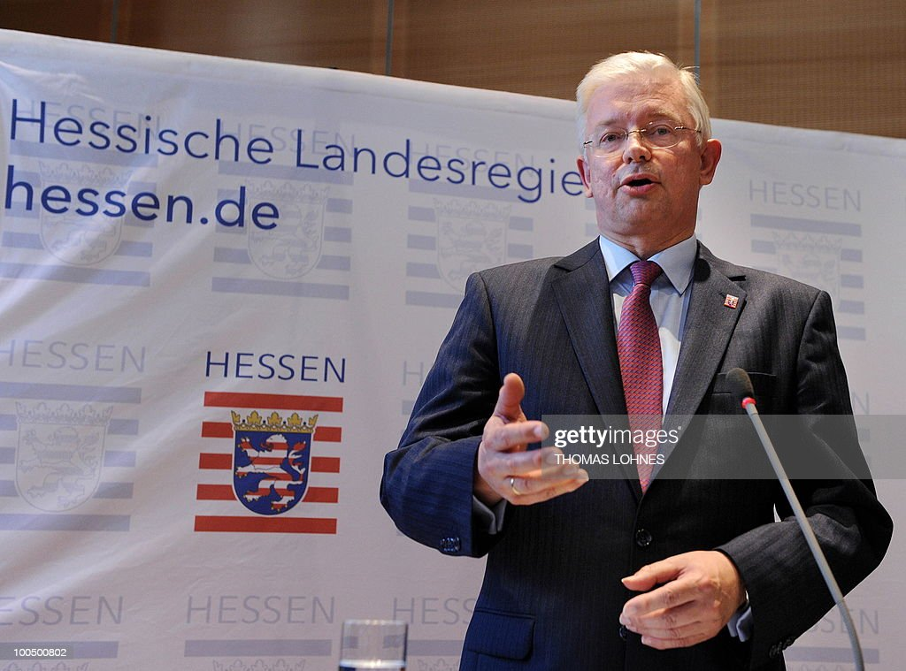 Hesse's State Premier Roland Koch gives a press conference on May 25, 2010 in Wiesbaden, western Germany, to announce his demission. Koch, a powerful rival of German Chancellor Angela Merkel and a big-hitting regional baron in her party announced his surprise resignation, but denied it was due to any spat.