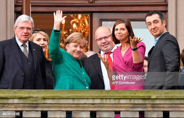 Hesse's State Premier Volker Bouffier Federal cochairwoman of the Greens Simone Peter German Chancellor Angela Merkel German Chief of Staff Peter...