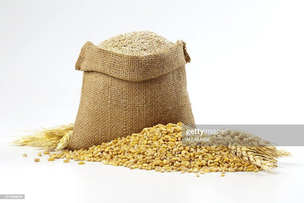 Hessian sack of grain and wheat