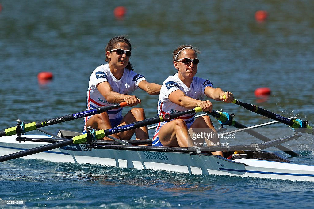 <a gi-track='captionPersonalityLinkClicked' href=/galleries/search?phrase=Hester+Goodsell&family=editorial&specificpeople=2268589 ng-click='$event.stopPropagation()'>Hester Goodsell</a> and Sophie Hosking of Great Britain compeate in the Lightweight Women's Pair Sculls heats during day two of the FISA Rowing World Championships at Lake Bled on August 29, 2011 in Bled, Slovenia.