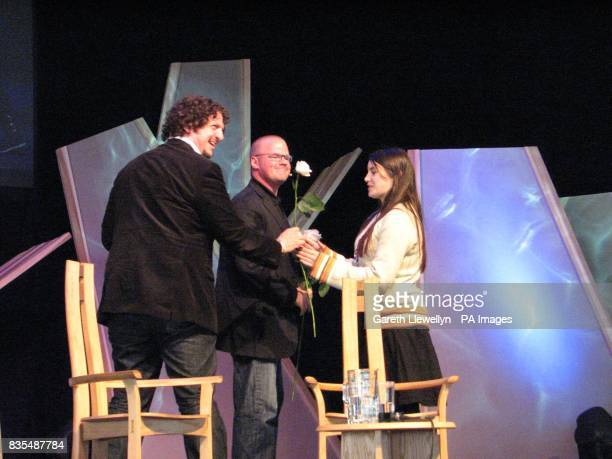 Heston Blumenthal receiving a rose at the end of his talk with food critic Jay Rayner at the Hay Festival in mid Wales