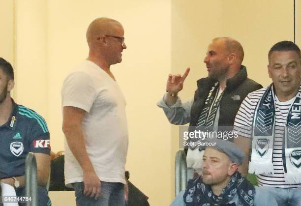 Heston Blumenthal Stephanie Gouveia George Calombaris and Natalie Tricarico watch the match from a corporate box during the round 21 ALeague match...