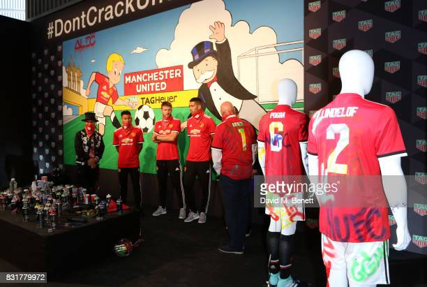 TAG Heuer Art Provocateur Alec Monopoly Jesse Lingard Michael Carrick and Chris Smalling of Manchester United TAG Heuer CEO and President of LVMH...
