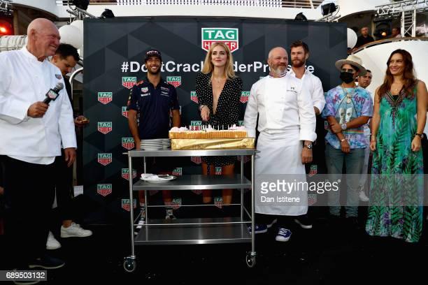 Heuer CEO JeanClaude Biver Daniel Ricciardo of Australia and Red Bull Racing Fashion blogger and model Chiara Ferragni Chef Philippe Etchebest Actor...