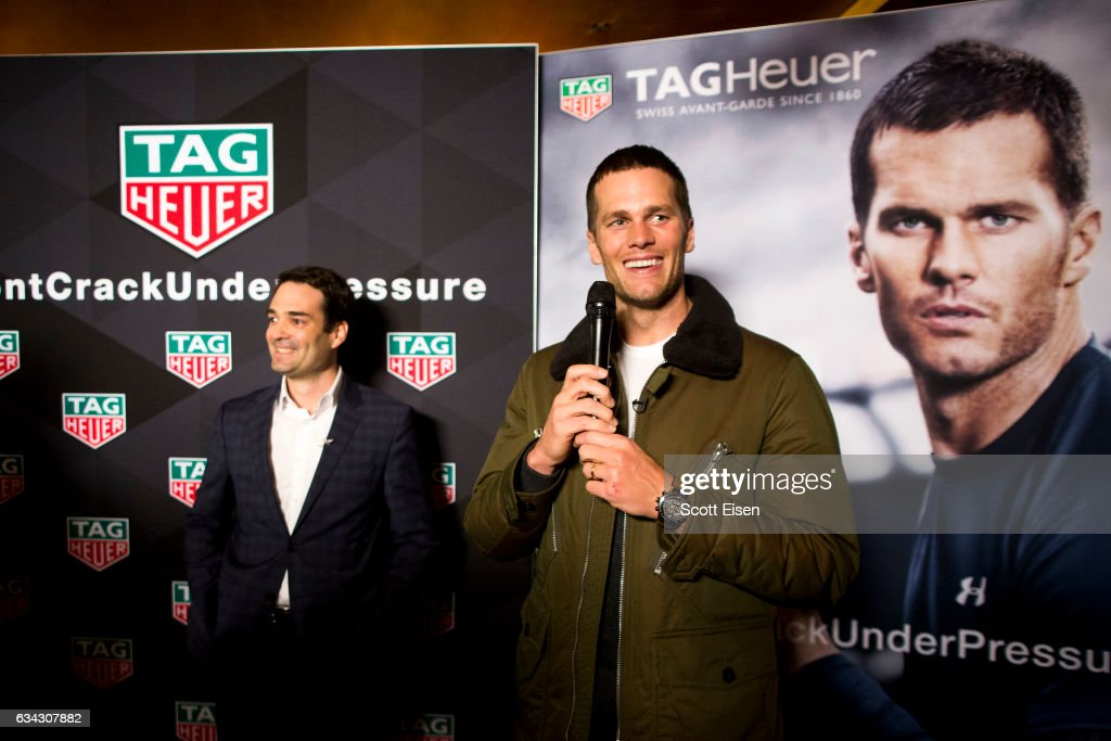 Heuer CEO Killian Muller presents New England Patriots quarterback Tom Brady with a Caliber H02 Tourbillion on February 8, 2017 in Boston, Massachusetts.