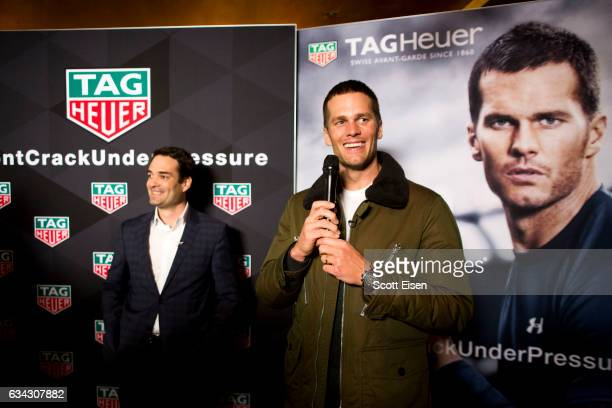 Heuer CEO Killian Muller presents New England Patriots quarterback Tom Brady with a Caliber H02 Tourbillion on February 8 2017 in Boston Massachusetts