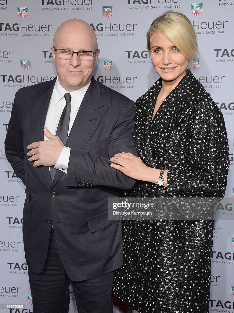 TAG Heuer CEO Stephane Linder and actress <a gi-track='captionPersonalityLinkClicked' href=/galleries/search?phrase=Cameron+Diaz&family=editorial&specificpeople=201892 ng-click='$event.stopPropagation()'>Cameron Diaz</a> attend TAG Heuer New York City Flagship Store Opening at TAG Heur New York City Flagship Store on January 28, 2014 in New York City.