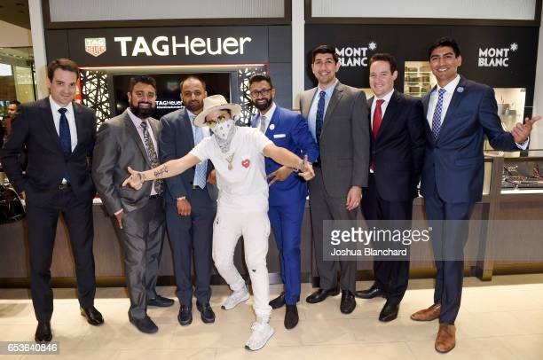 TAG Heuer North America CEO Kilian Muller Sanat Bhindi Nikhil Bhindi artist Alec Monopoly Ronil Bhindi Ketan Bhindi TAG Heuer North America Vice...