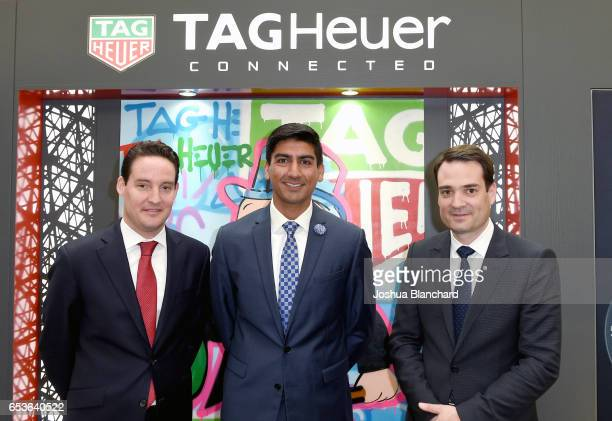 TAG Heuer North America Vice President of Sales Roland Enderli Ashwin Bhindi and TAG Heuer North America CEO Kilian Muller attend TAG Heuer Connected...