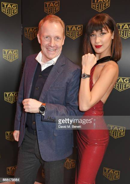 Heuer UK Managing Director Rob Diver and Bella Hadid open the TAG Heuer Flagship Store on Oxford Street on December 8 2017 in London England