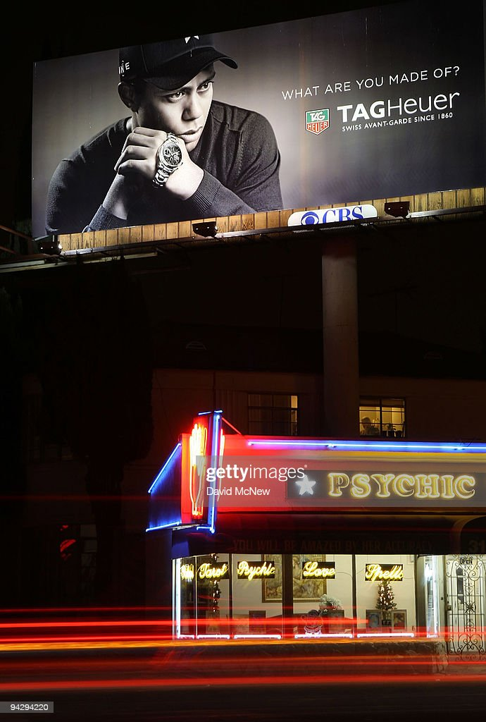 Heuer watch billboard with an image of golf legend <a gi-track='captionPersonalityLinkClicked' href=/galleries/search?phrase=Tiger+Woods&family=editorial&specificpeople=157537 ng-click='$event.stopPropagation()'>Tiger Woods</a> is shown on December 11, 2009 in Los Angeles, California. Woods announced that he will take an indefinite break from professional golf to concentrate on repairing family relations after admitting to infidelity in his marriage. Woods has a TAG Heuer professional golf watch model named for him.