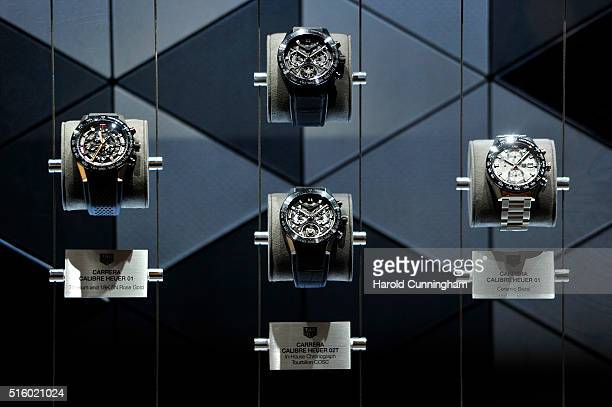 Heuer watches are displayed during Baselworld on March 16 2016 in Basel Switzerland Held annually Baselworld is the most important watch and...