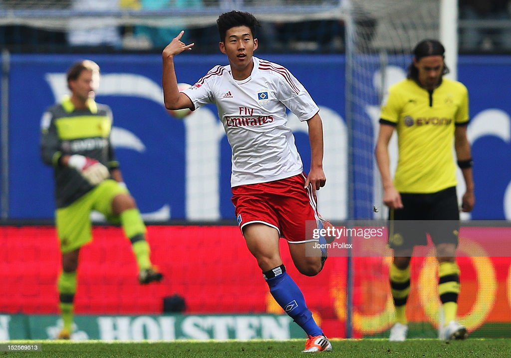 Heung Min Son of Hamburg celebrates after scoring his team's third goal during the Bundesliga match between Hamburger SV and Borussia Dortmund at Imtech Arena on September 22, 2012 in Hamburg, Germany.