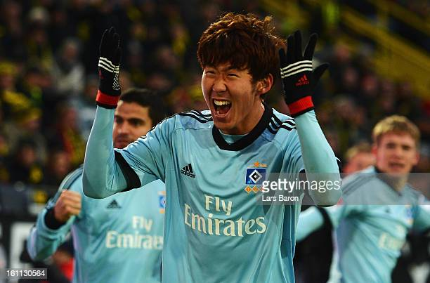 Heung Min Son of Hamburg celebrates during the Bundesliga match between Borussia Dortmund and Hamburger SV at Signal Iduna Park on February 9 2013 in...