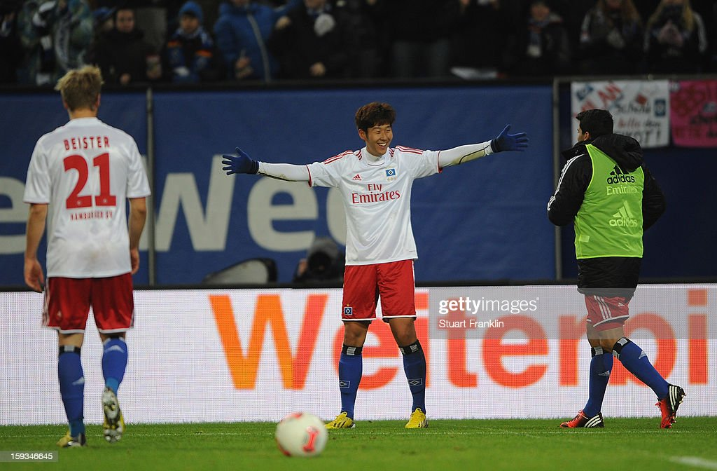 Heung Min Son of Hamburg celebrates scoring his goal during the international friendly match between Hamburger SV and Austria Wien at Imtech Arena on January 12, 2013 in Hamburg, Germany.