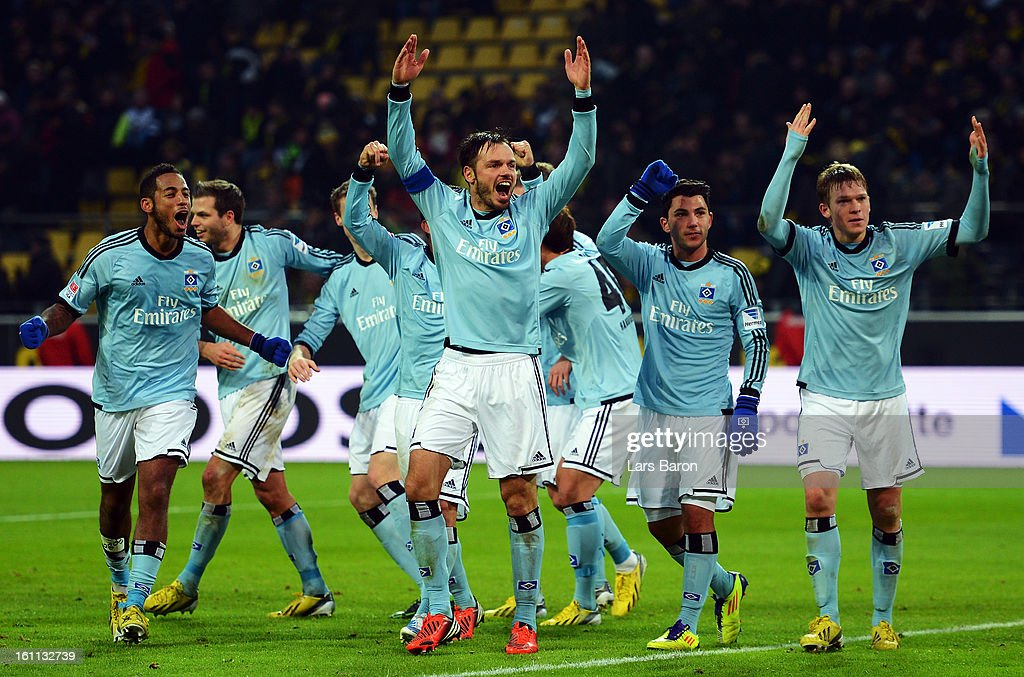Heung Min Son of Hamburg celebrates with team mates after scoring his teams fourth goal during the Bundesliga match between Borussia Dortmund and Hamburger SV at Signal Iduna Park on February 9, 2013 in Dortmund, Germany.