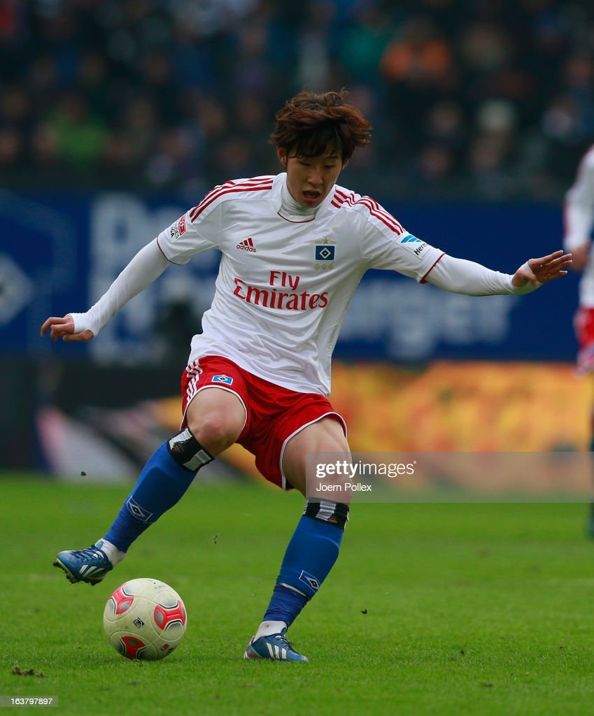 Heung Min Son of Hamburg controls the ball during the Bundesliga match between Hamburger SV and FC Augsburg at Imtech Arena on March 16, 2013 in Hamburg, Germany.