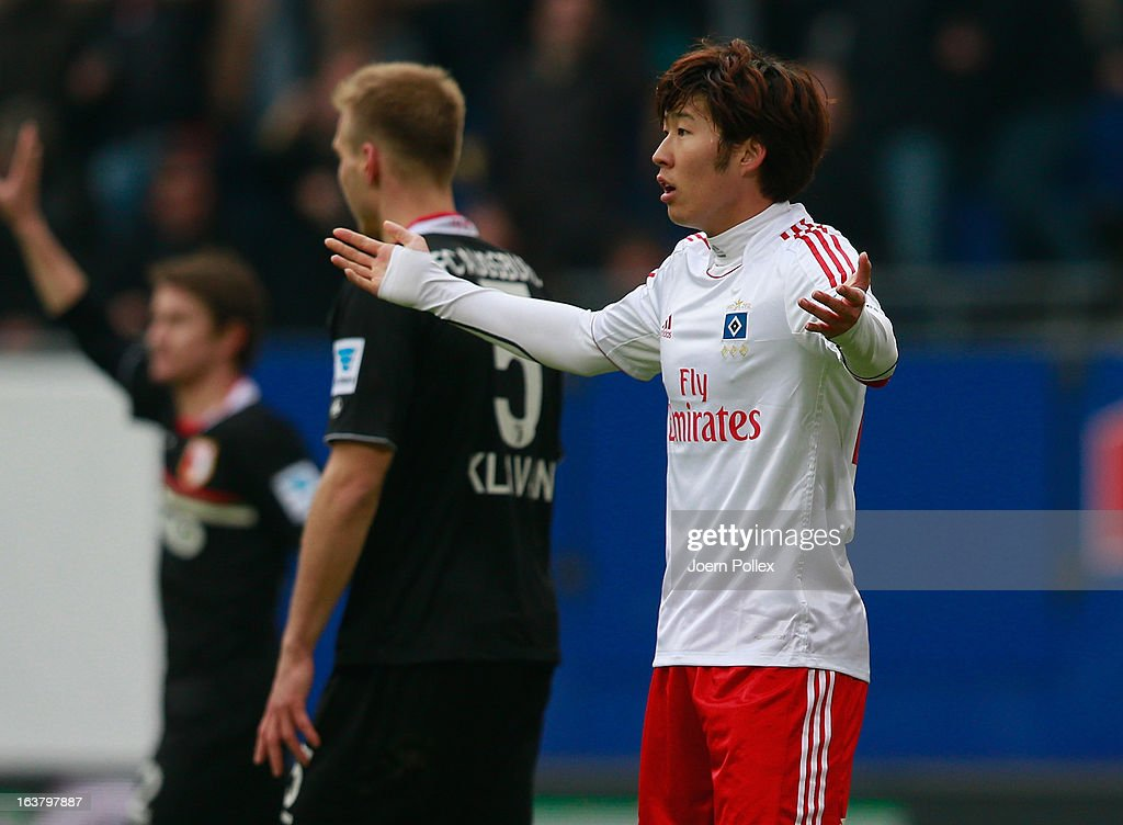 Heung Min Son of Hamburg gestures during the Bundesliga match between Hamburger SV and FC Augsburg at Imtech Arena on March 16, 2013 in Hamburg, Germany.