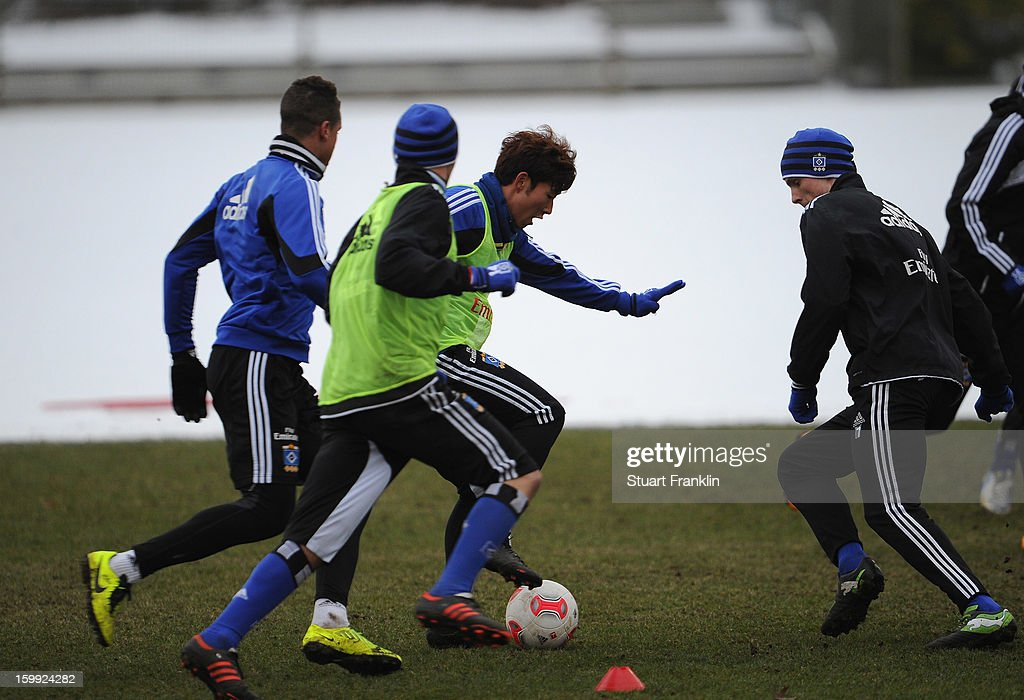 Heung Min Son of Hamburg in action during a traing session of Hamburg SV on January 23, 2013 in Hamburg, Germany.