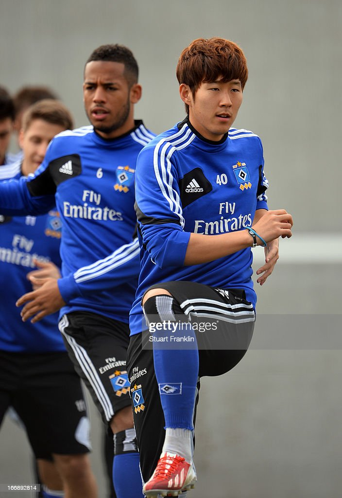 Heung Min Son of Hamburg in action during a training session of Hamburger SV on April 18, 2013 in Hamburg, Germany.