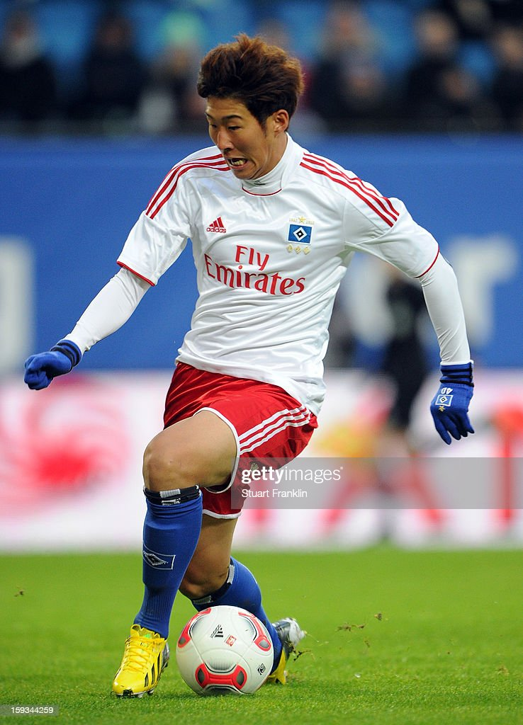 Heung Min Son of Hamburg in action during the international friendly match between Hamburger SV and Austria Wien at Imtech Arena on January 12, 2013 in Hamburg, Germany.