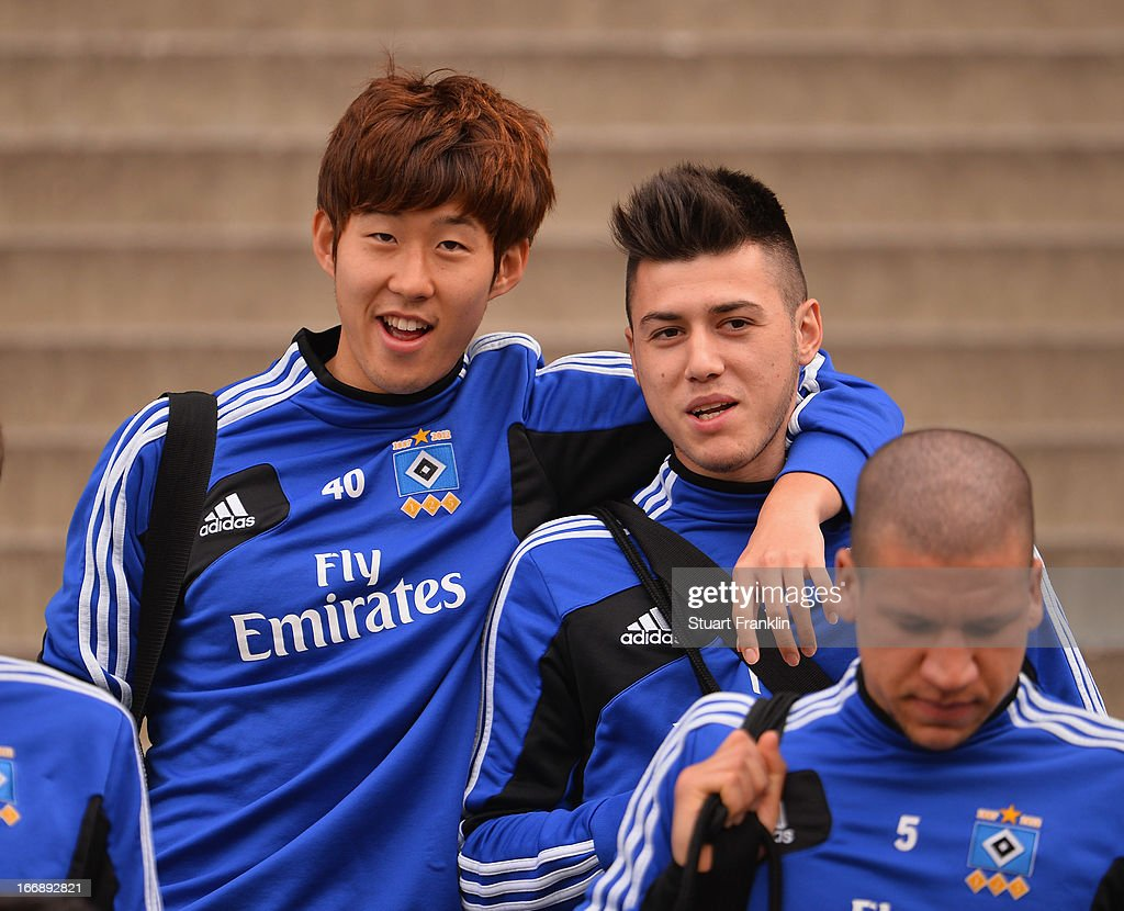 Heung Min Son of Hamburg looks on during a training session of Hamburger SV on April 18, 2013 in Hamburg, Germany.