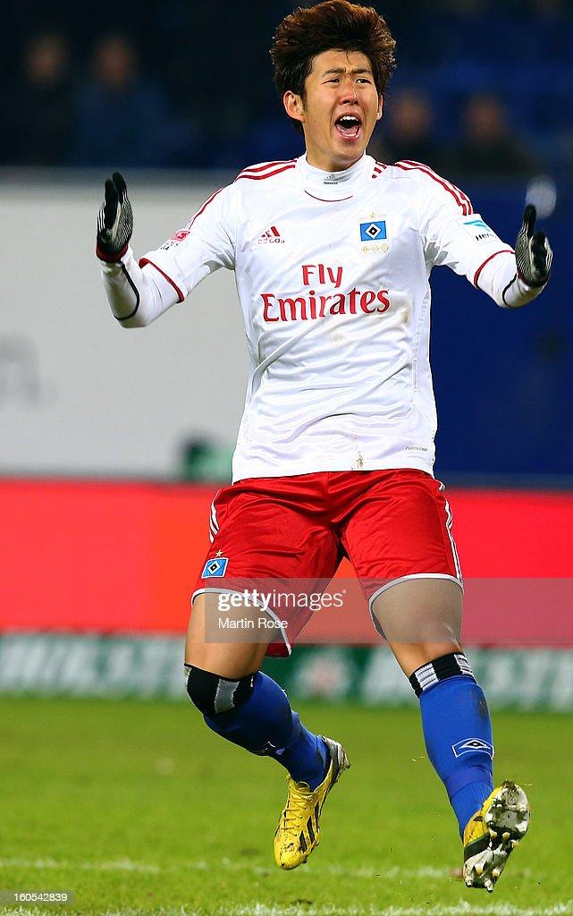 Heung Min Son of Hamburg reacts during the Bundesliga match between Hamburger SV and Eintracht Frankfurt at Imtech Arena on February 2, 2013 in Hamburg, Germany.