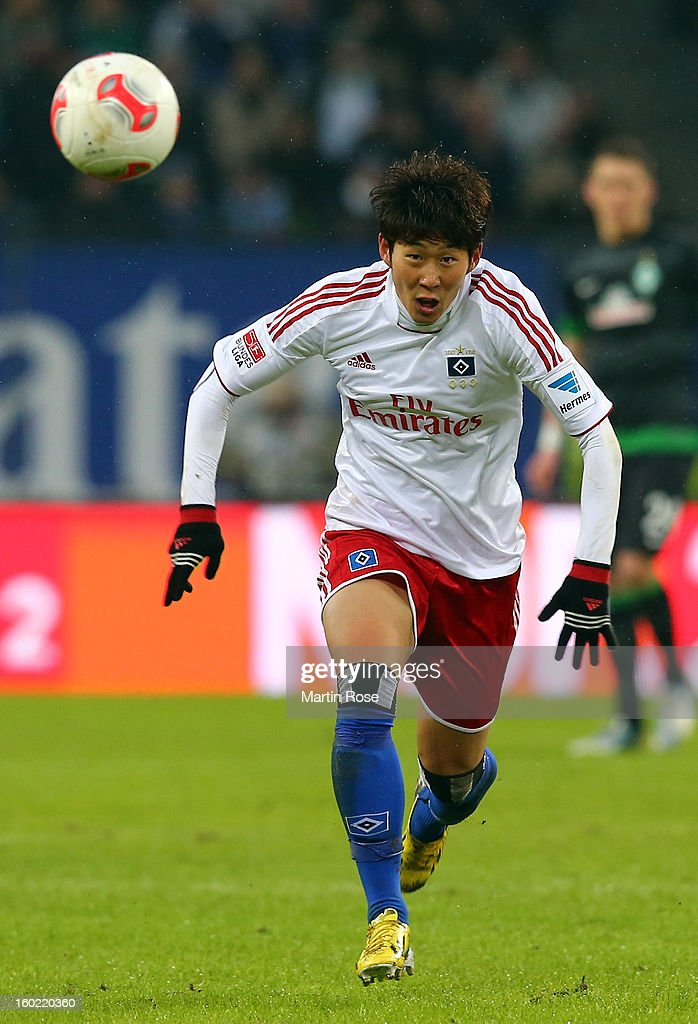 Heung Min Son of Hamburg runs with the ball during the Bundesliga match between Hamburger SV and SV Werder Bremen at Imtech Arena on January 27, 2013 in Hamburg, Germany.