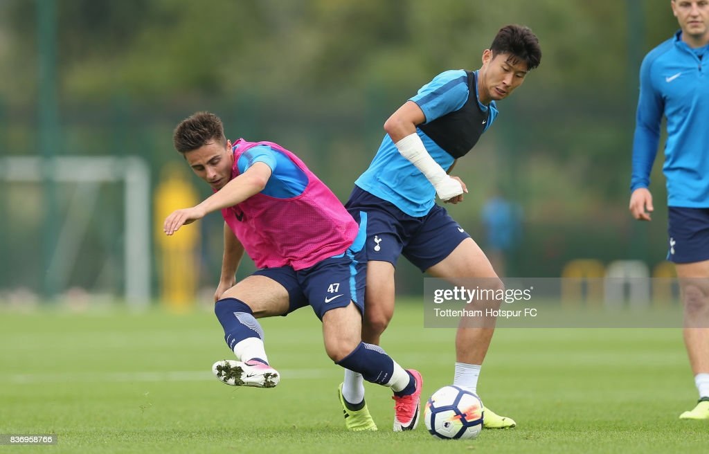 Heung-min Son and Anthony Georgiou of Tottenham during a Tottenham Hotspur training session at Tottenham Hotspur Training Centre on August 22, 2017 in Enfield, England.
