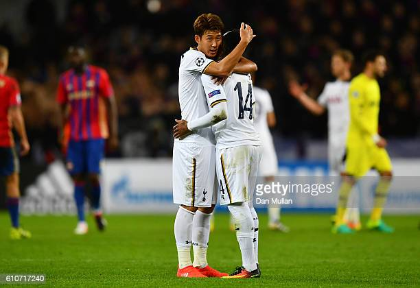 HeungMin Son and GeorgesKevin Nkoudou of Tottenham Hotspur celebrate victory after during the UEFA Champions League Group E match between PFC CSKA...