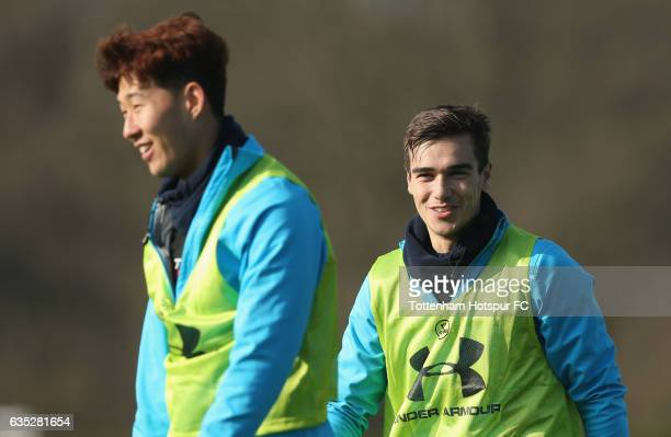 Heungmin Son and Harry Winks of Tottenham during the Tottenham Hotspur training session at Tottenham Hotspur Training Centre on February 14 2017 in...