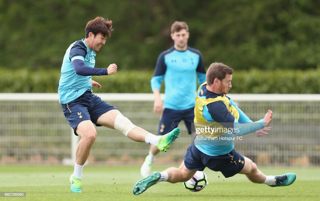 Heung-min Son and Jan Vertonghen of Tottenham during the Tottenham Hotspur training session at Tottenham Hotspur Training Centre on May 12, 2017 in Enfield, England.