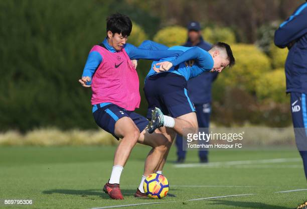 Heungmin Son and Juan Foyth of Tottenham during the Tottenham Hotspur training session at Tottenham Hotspur Training Centre on November 3 2017 in...