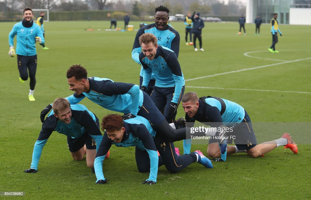 Heung-Min Son and team mates celebrates scoring the winning goal during a training game during the Tottenham Hotspur Training Session on February 8, 2017 in Enfield, England.