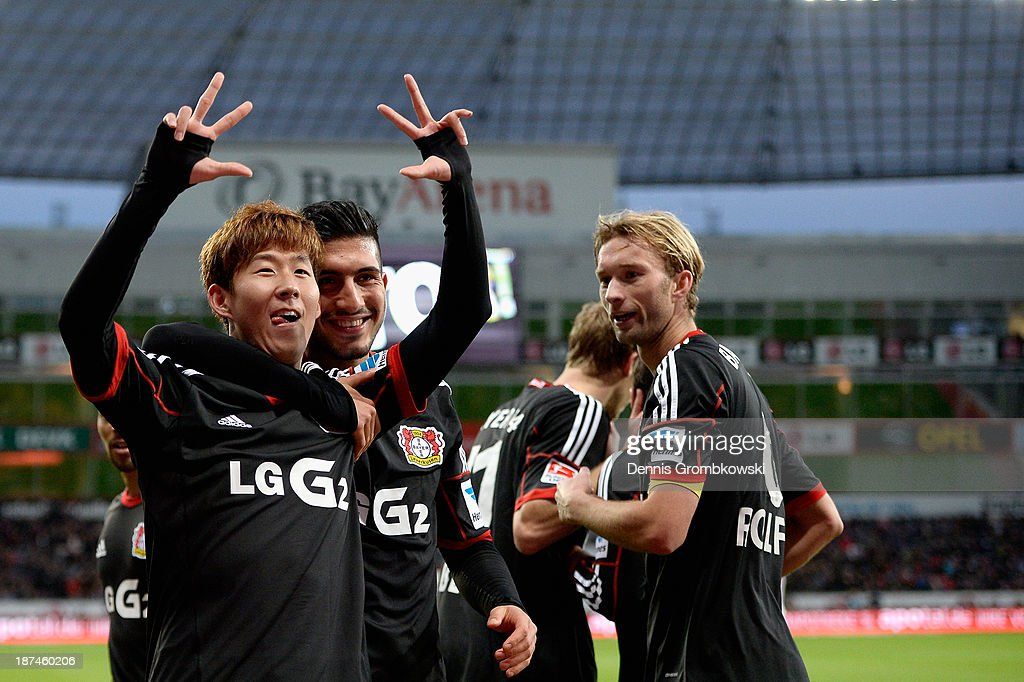 HeungMin Son of Bayer Leverkusen celebrates his third goal during the Bundesliga match between Bayer Leverkusen and Hamburger SV at BayArena on...